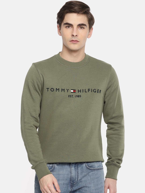 b3f433d25da9 Buy Tommy Hilfiger Men Olive Green Solid Sweatshirt - Sweatshirts ...