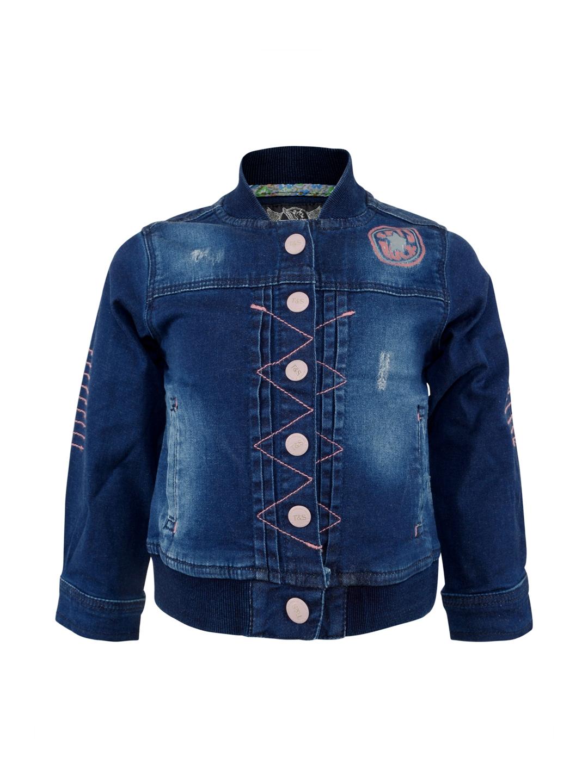 c21f4f35a9 Buy TALES   STORIES Girls Blue Slim Fit Denim Jacket - Jackets for ...