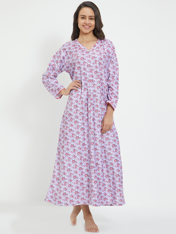 17c710115d Velvet by night Light Purple Cotton Full Sleeves Printed Full Nighty For  Women