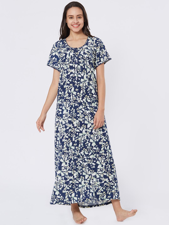 9260bc44af Velvet by night Navy Blue Hosiery Half sleeves Printed Full Nighty For Women
