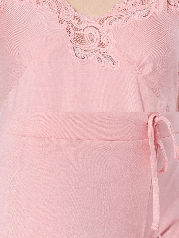031d3afb5 Buy Velvet By Night Pink Modal Sleeveless Solid Top   Capri Set For ...
