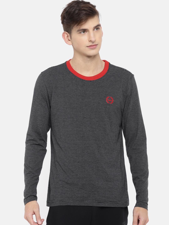 Park Avenue Men Black Striped Lounge T shirt PZUC00332 K3
