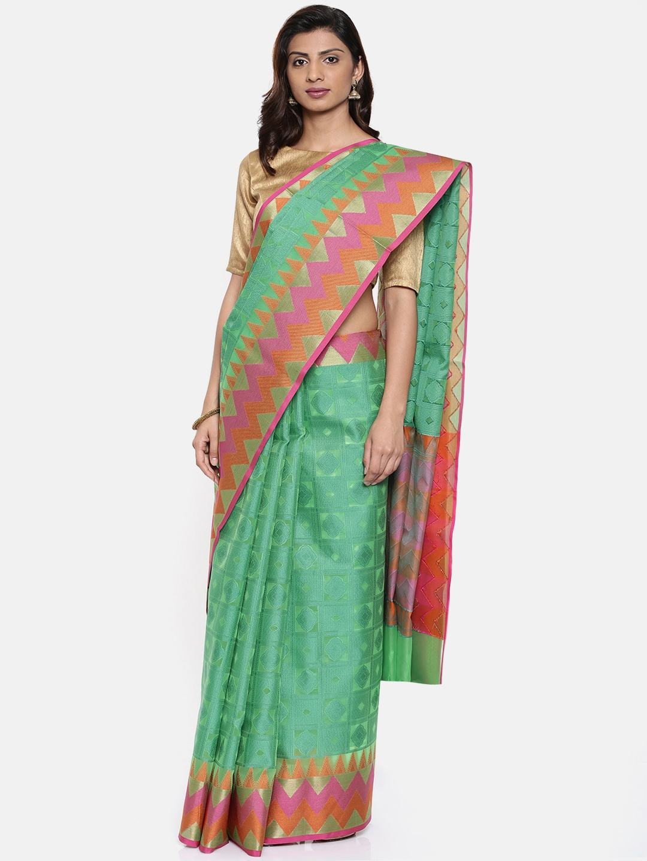 7299d150f0 Buy The Chennai Silks Classicate Green Organza Woven Design Banarasi ...