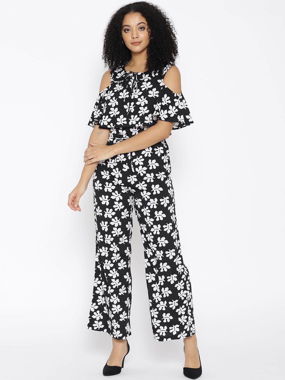 6e87151ba6c6 Buy Cottinfab Black   White Printed Cold Shoulder Jumpsuit ...