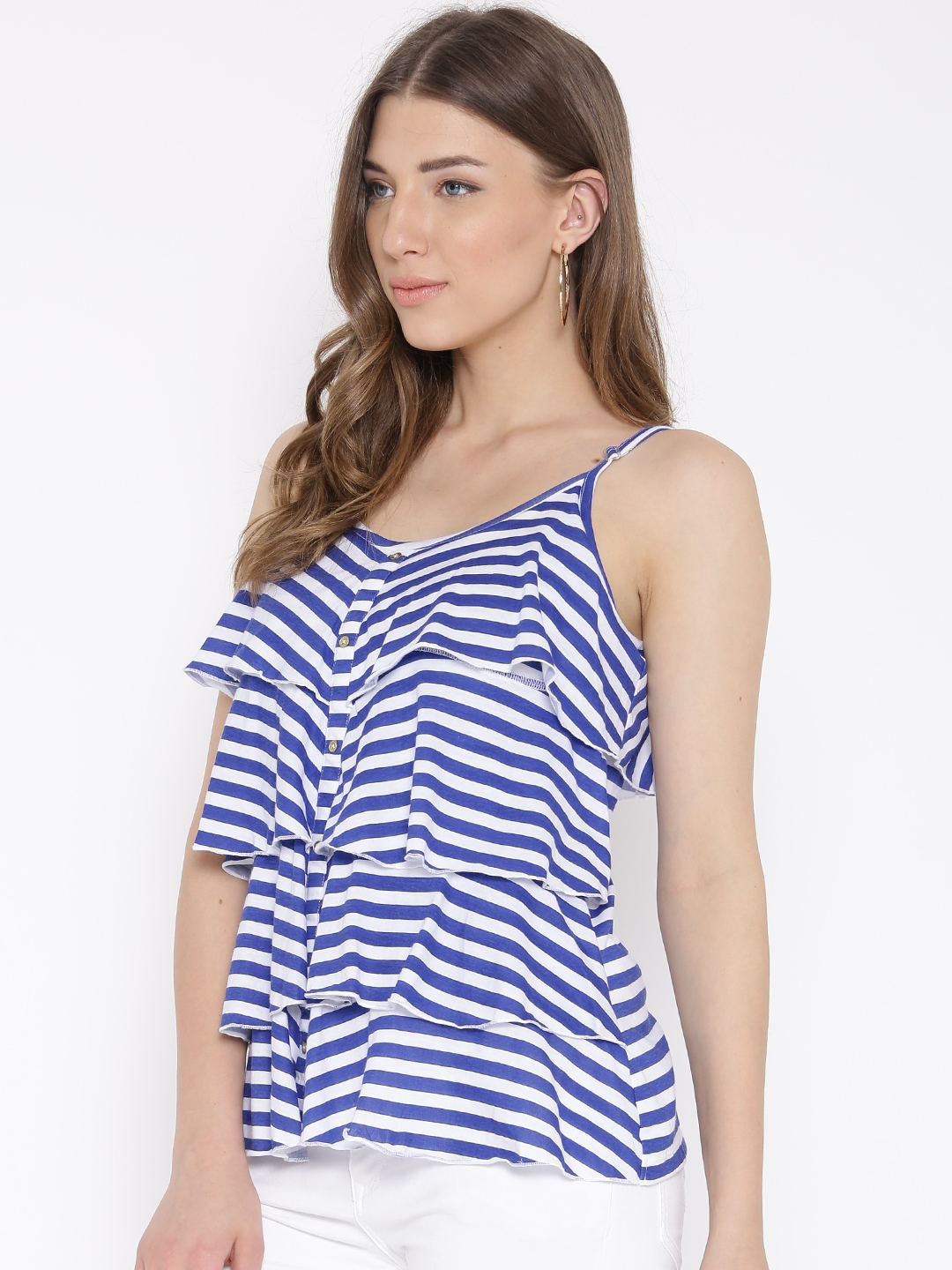 011e84ace92475 Buy Flying Machine Blue & White Striped Ruffled Top - Tops for Women ...
