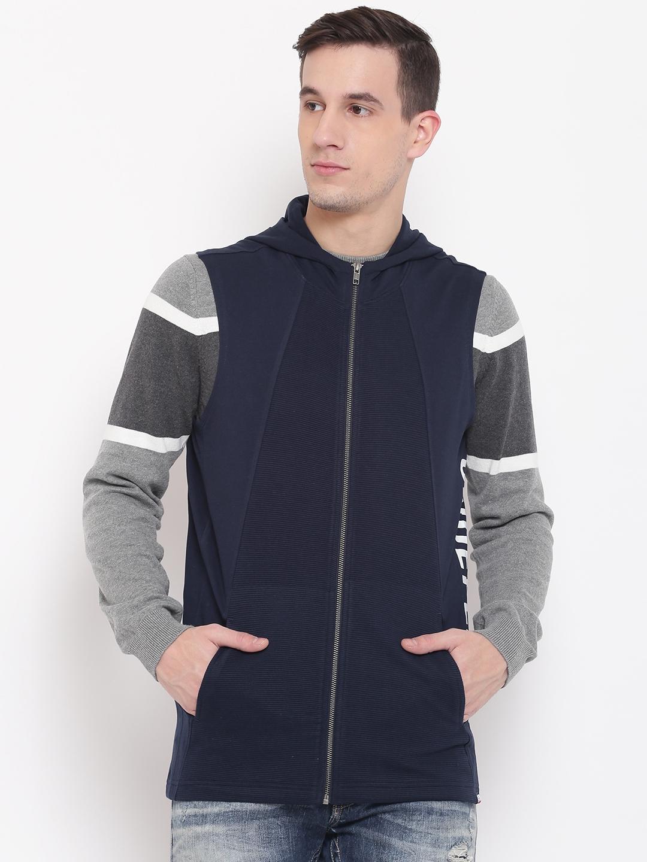 SPYKAR Men Navy Solid Hooded Sleeveless Sweatshirt