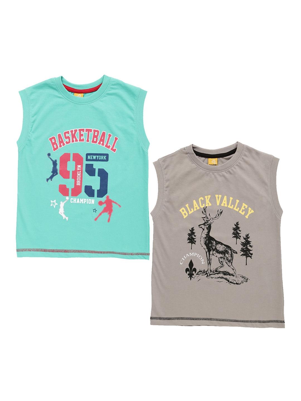 c3080972 Buy Dollar Champion Kidswear Boys Pack Of 2 Printed Round Neck T ...