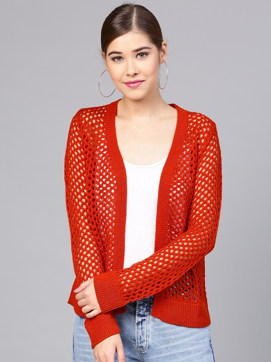 e970184e2d Buy STREET 9 Orange Solid Open Knit Open Front Shrug - Shrug for ...