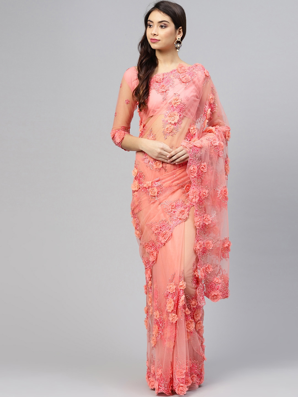 67cb563c82 Saree mall Peach-Coloured Applique Embroidered Net Saree