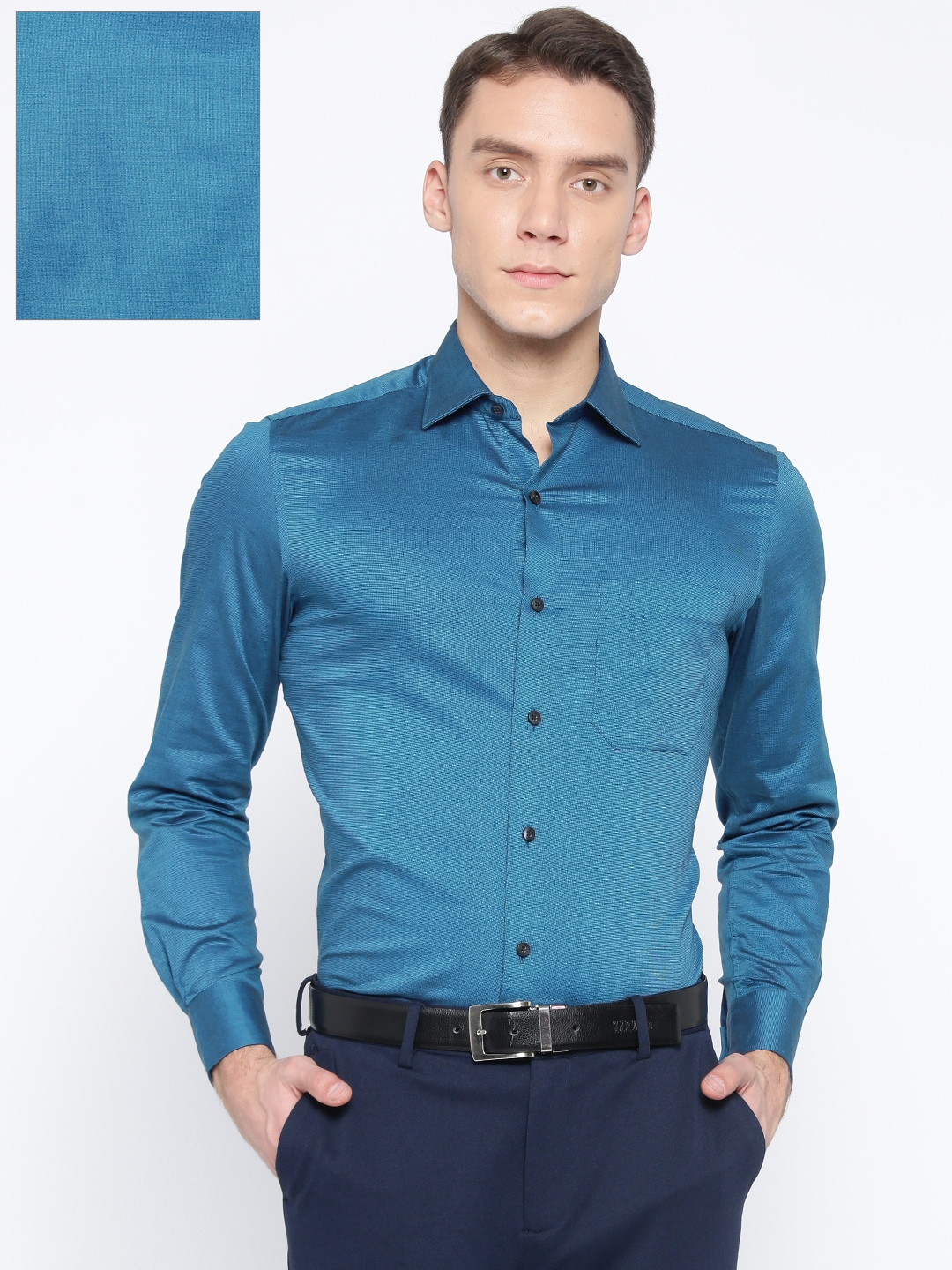 e8ed69d5d69 Buy Louis Philippe Men Teal Blue Classic Fit Solid Formal Shirt ...