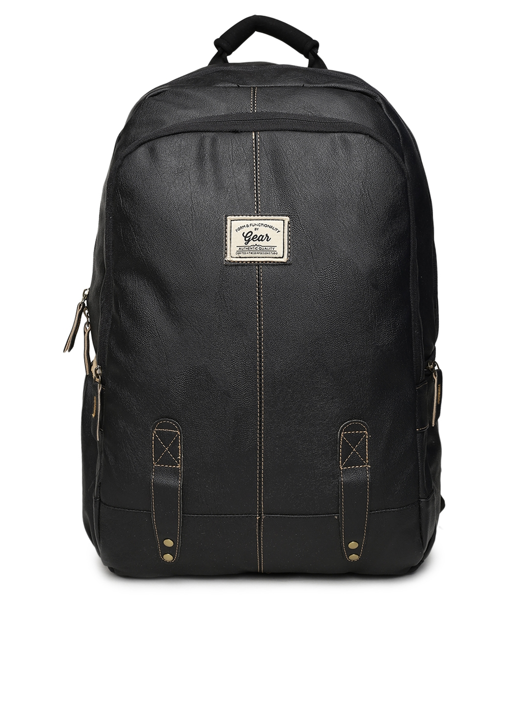 4b7543caa658 Buy Gear Unisex Black Faux Leather Solid Backpack - Backpacks for ...