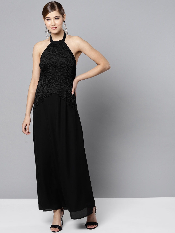 RARE Women Black Solid Maxi Dress