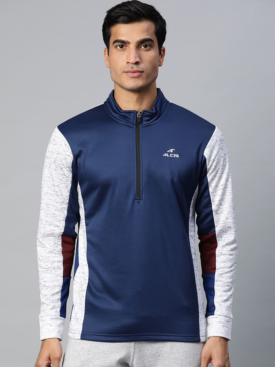 Alcis Men Navy Blue Solid Pullover Sweatshirt With Contrast Sleeves