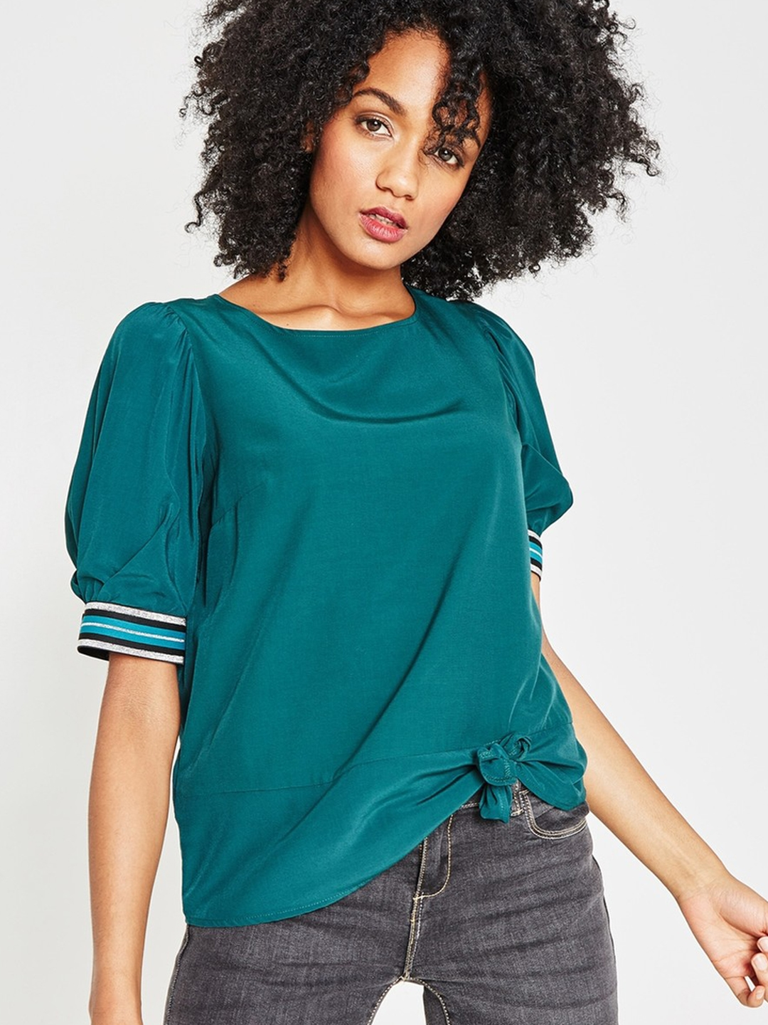 e098acbd48a03a Buy Promod Women Green Solid Top - Tops for Women 8001591