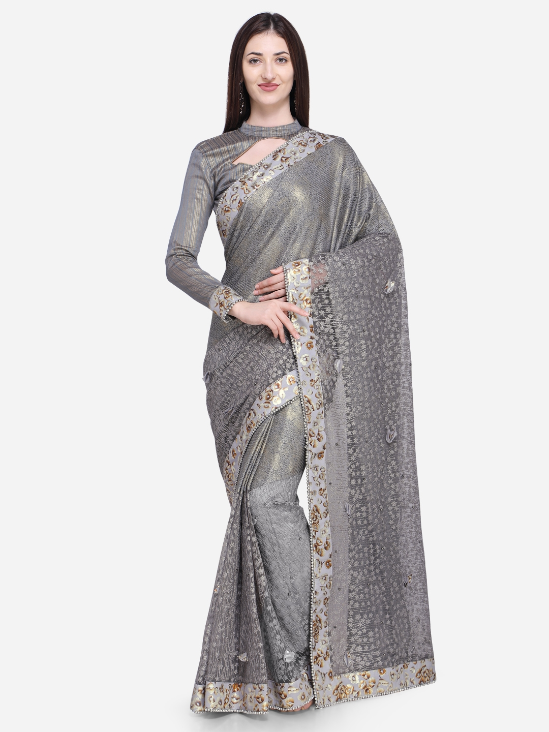 bf5cef8ec66 Buy Indian Women Grey Embroidered Pure Georgette Saree - Sarees for ...