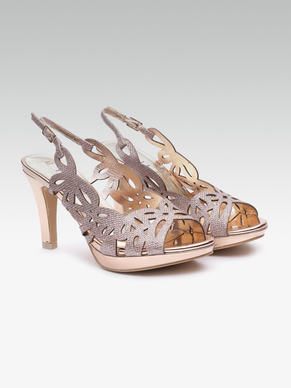 42384fe6091 Buy Elle Women Rose Gold Toned Embellished Open Toe Heels - Heels ...