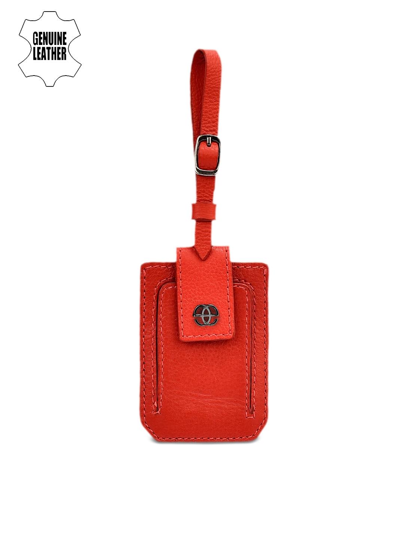 Eske Red Leather Luggage Tag