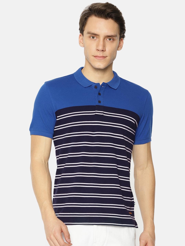 3077133e Buy Park Avenue Men Navy Blue Striped Polo Collar T Shirt - Tshirts ...