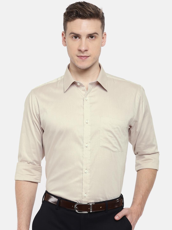 b83f9fca Buy Park Avenue Men Beige Slim Fit Solid Formal Shirt - Shirts for ...