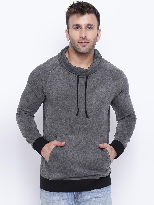 GRITSTONES Men Grey Solid Sweatshirt