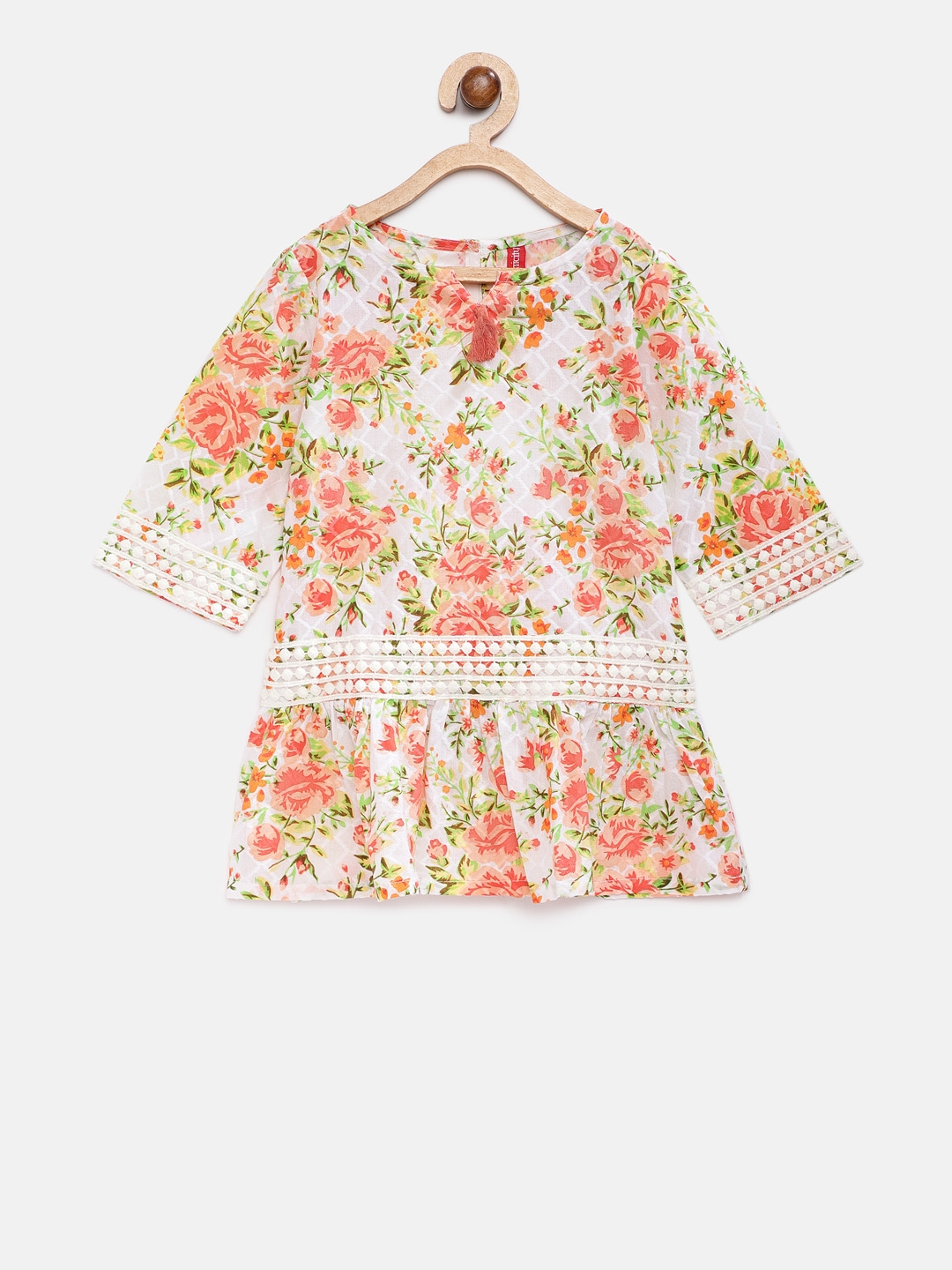 Buy Ethnicity Girls Peach Coloured & Beige Printed A Line