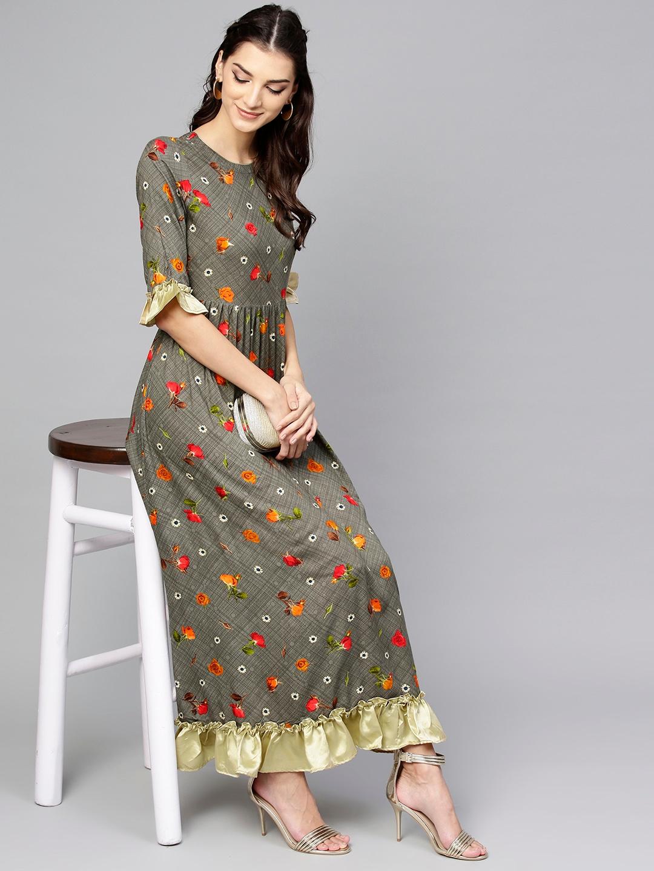 0aca4b7cb73 Buy Libas Women Grey Floral Print Maxi Dress - Dresses for Women ...