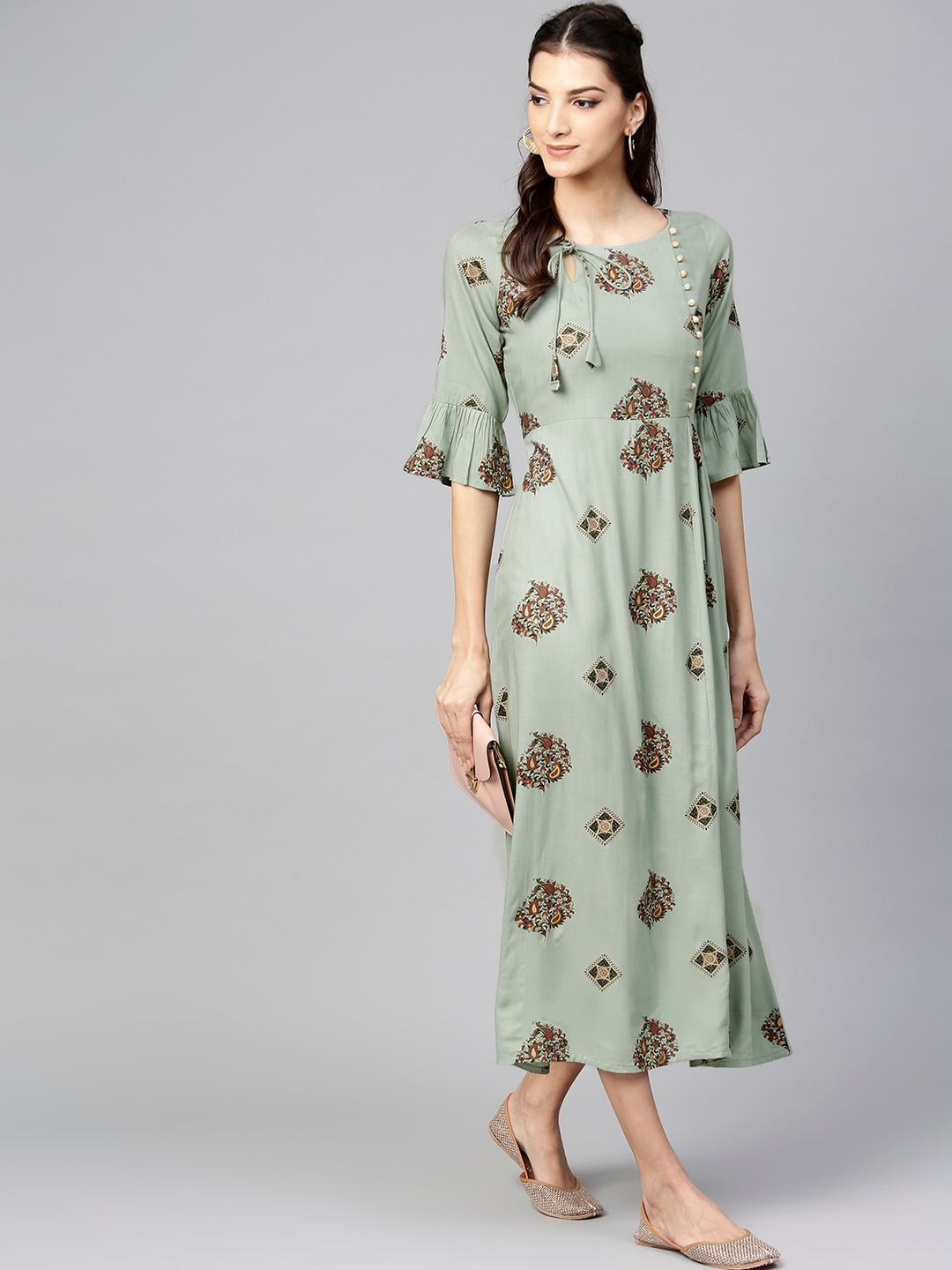 7d86a5134c Buy Libas Women Mint Green Printed Maxi Dress - Dresses for Women ...