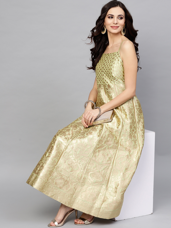 Buy AKS Women Sea Green & Golden Silk Brocade Pattern Maxi Dress - Dresses  for Women 8076727   Myntra