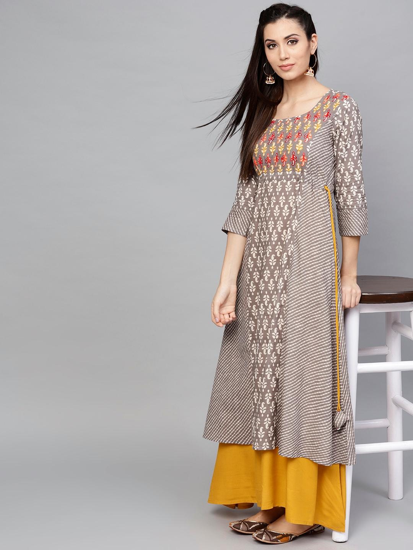 4c50718b6f Buy AKS Women Grey & Off White Printed Layered Maxi Dress - Dresses ...