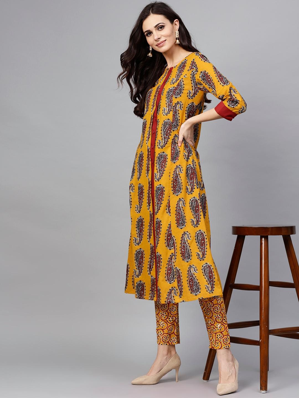 0148deb57 Buy AKS Women Mustard Yellow   Maroon Printed Kurta With Trousers ...