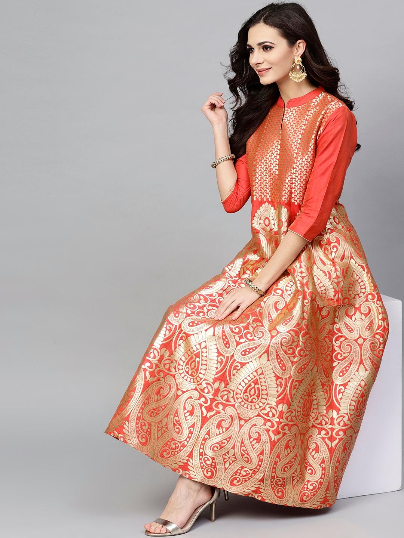 13c479f72da3 Buy AKS Women Orange & Golden Self Design Maxi Dress - Dresses for ...