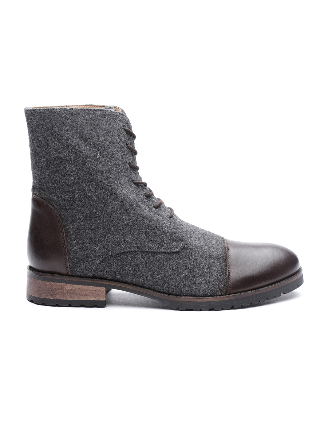 11599b6970d Buy Carlton London Men Charcoal Grey Flat Boots - Casual Shoes for ...