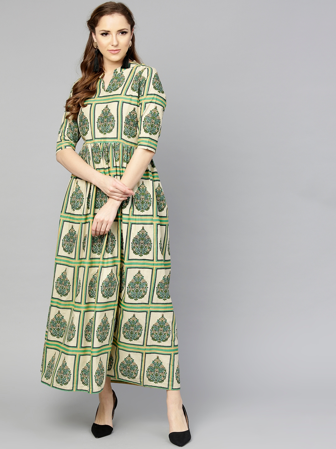 806fdd880d11 Buy Aasi Women Beige   Green Printed Maxi Dress - Dresses for Women ...