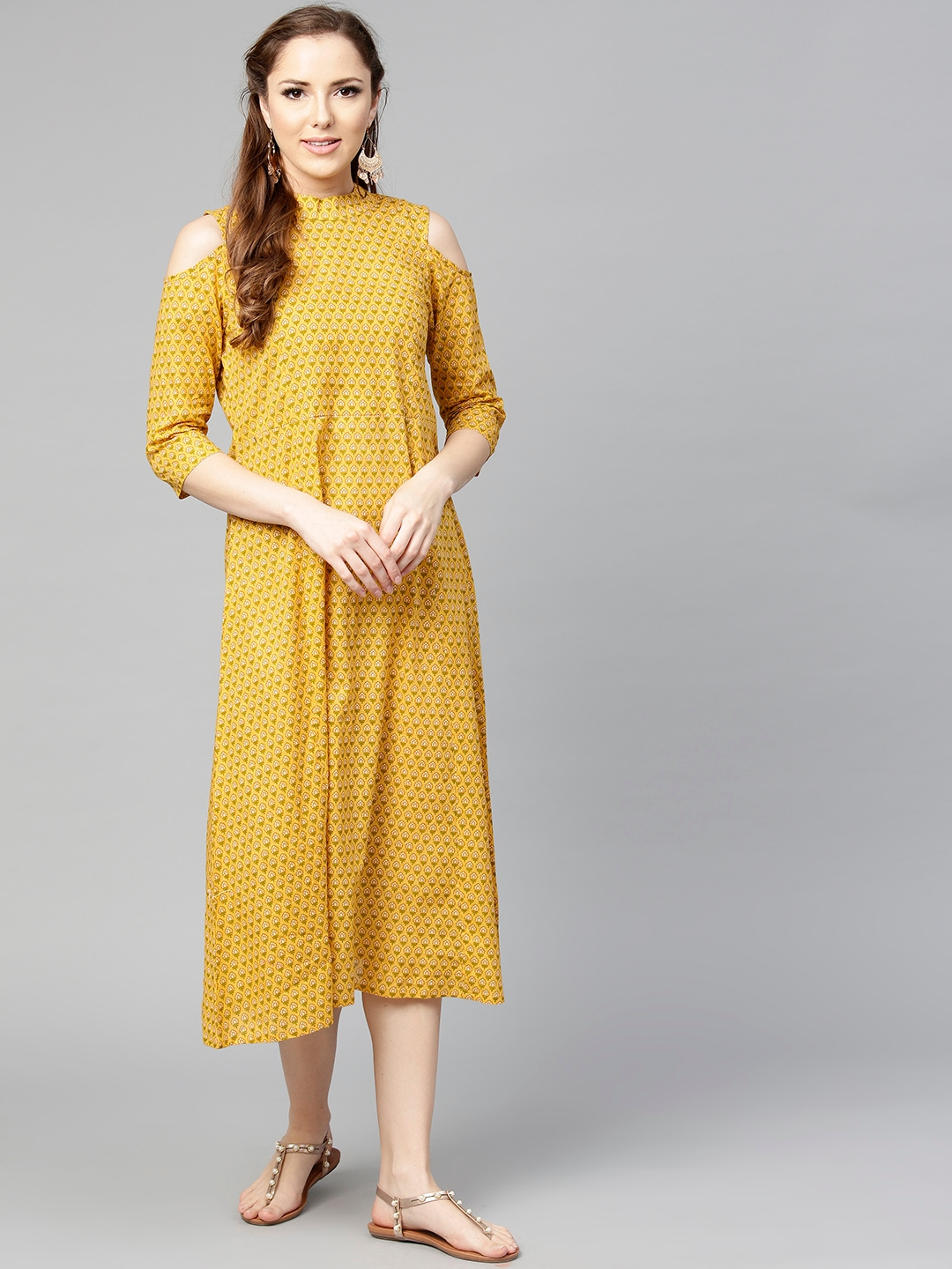 fea5a20456 Buy Aasi Women Mustard Yellow Printed A Line Dress - Dresses for ...