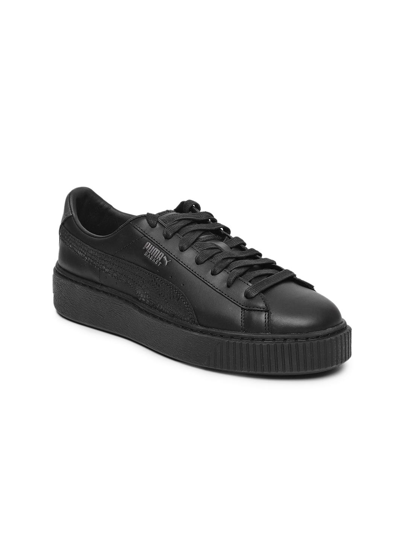 super popular 716f9 cd7ae Puma Women Black Basket Platform Euphoria Metallic Leather Sneakers
