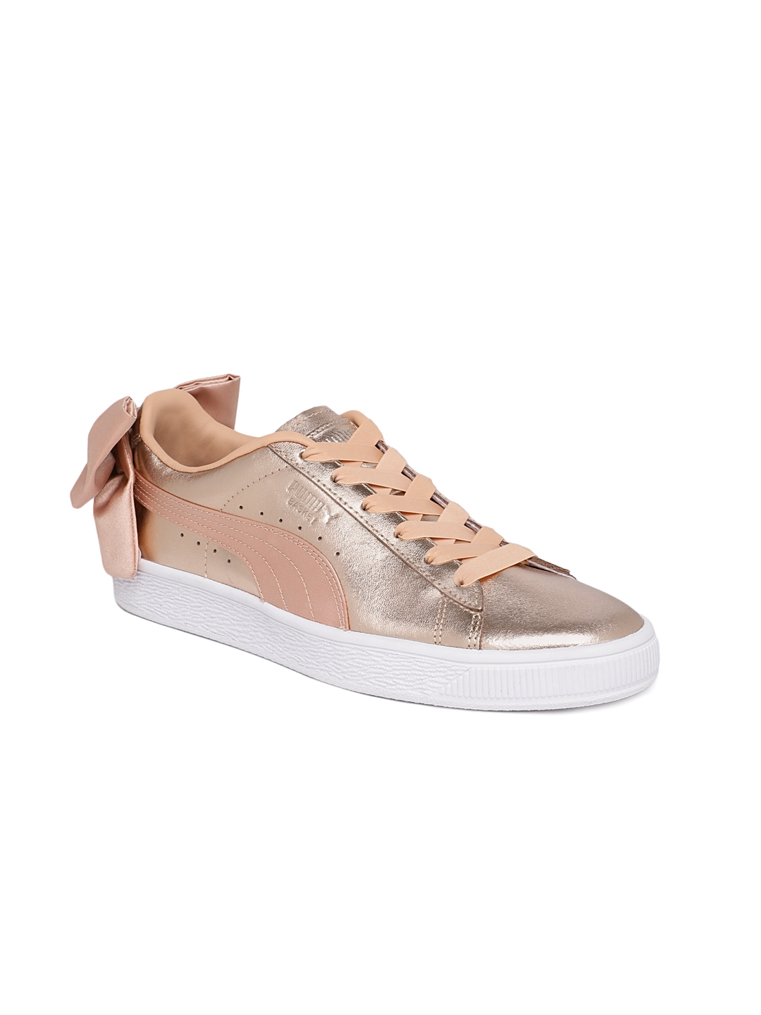 newest b7588 16cf5 Puma Women Rose-Gold Toned Solid Basket Bow Luxe Leather Trainers