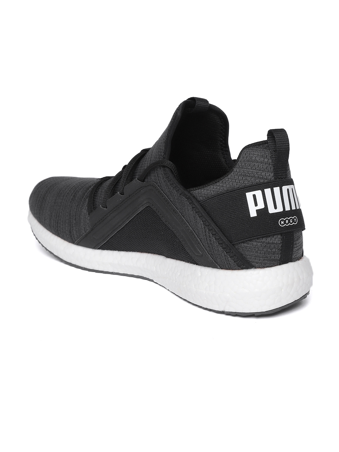 f1186a5dacee Puma Men Charcoal Grey   Black Mega NRGY Heather Knit Self-Striped Running  Shoes