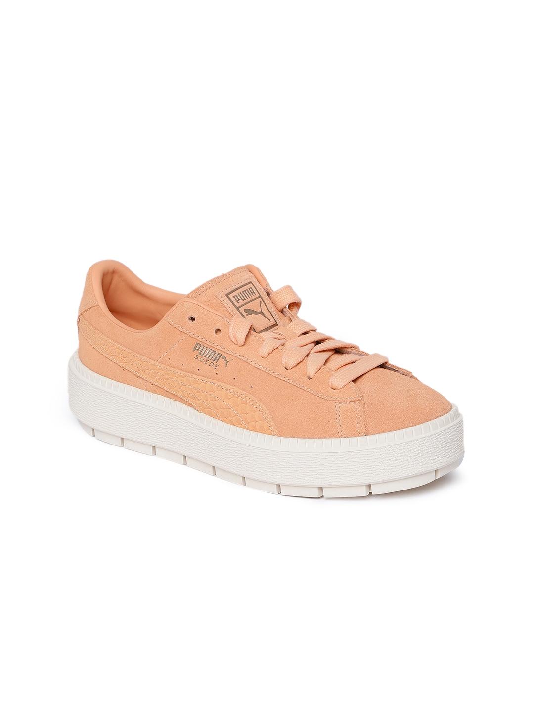 540a39b76135 Buy puma women peach suede platform trace sneakers casual shoes jpg  1080x1440 Trace khaki puma classic