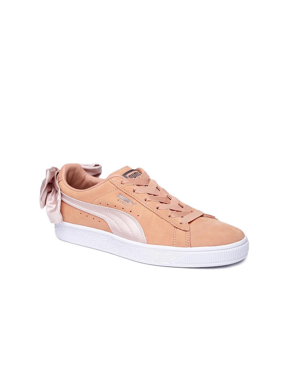 the best attitude 6b9b2 54a3c Puma Women Peach Suede Bow Sneakers