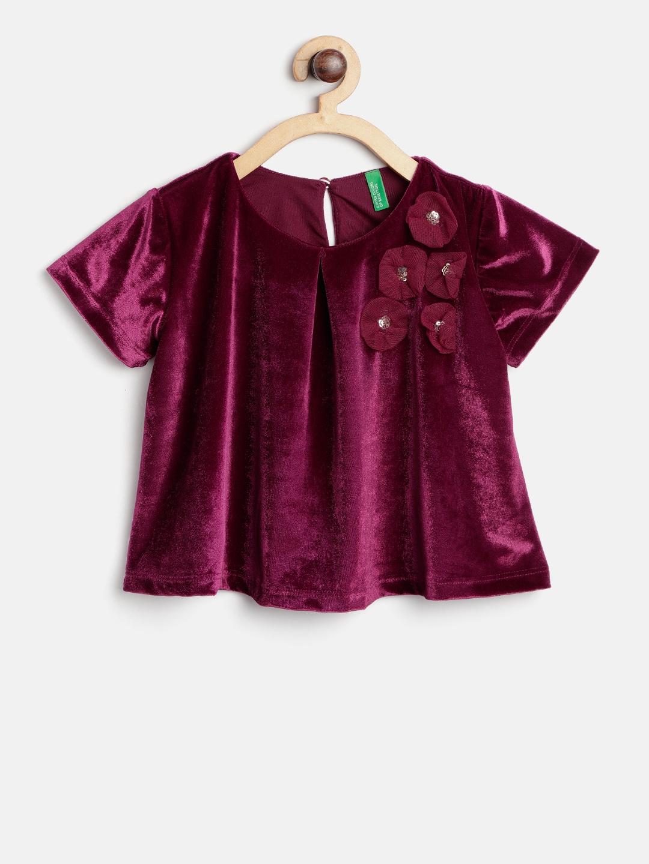 4fd2845d05e Buy United Colors Of Benetton Girls Burgundy Solid Velvet A Line Top ...