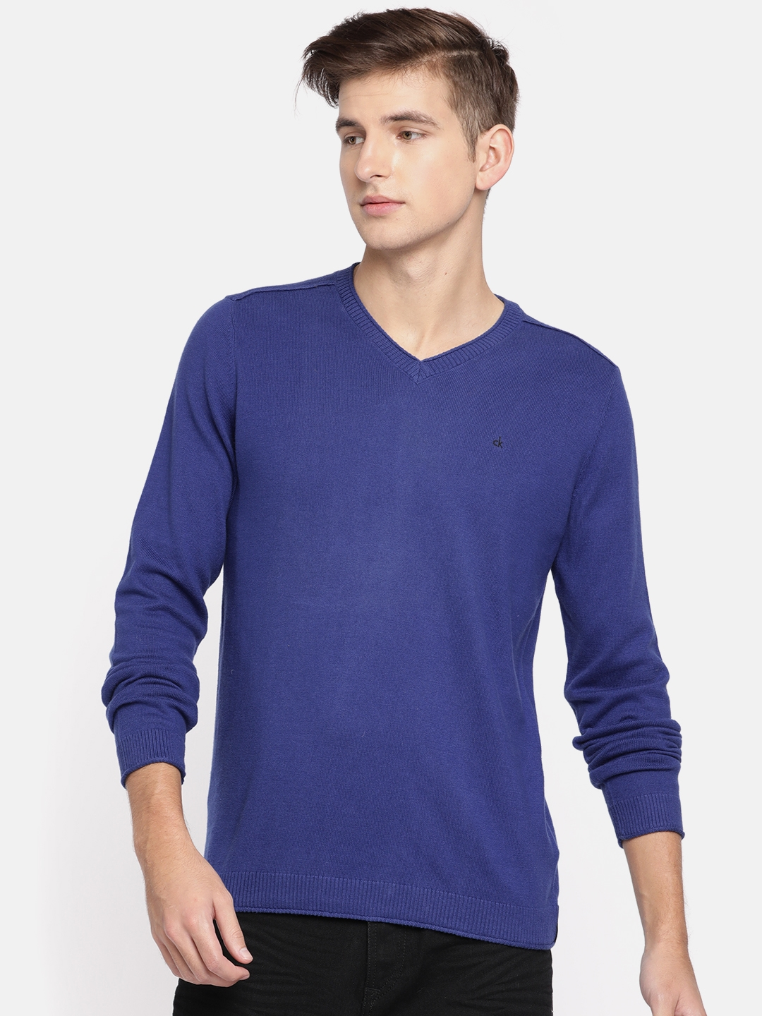 7e750b36443 Buy Calvin Klein Jeans Men Blue Solid Pullover Sweater - Sweaters ...