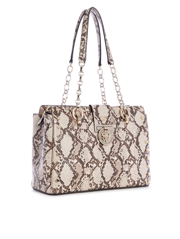 Buy GUESS Beige   Brown Snakeskin Textured Shoulder Bag - Handbags ... 102cd417416cd