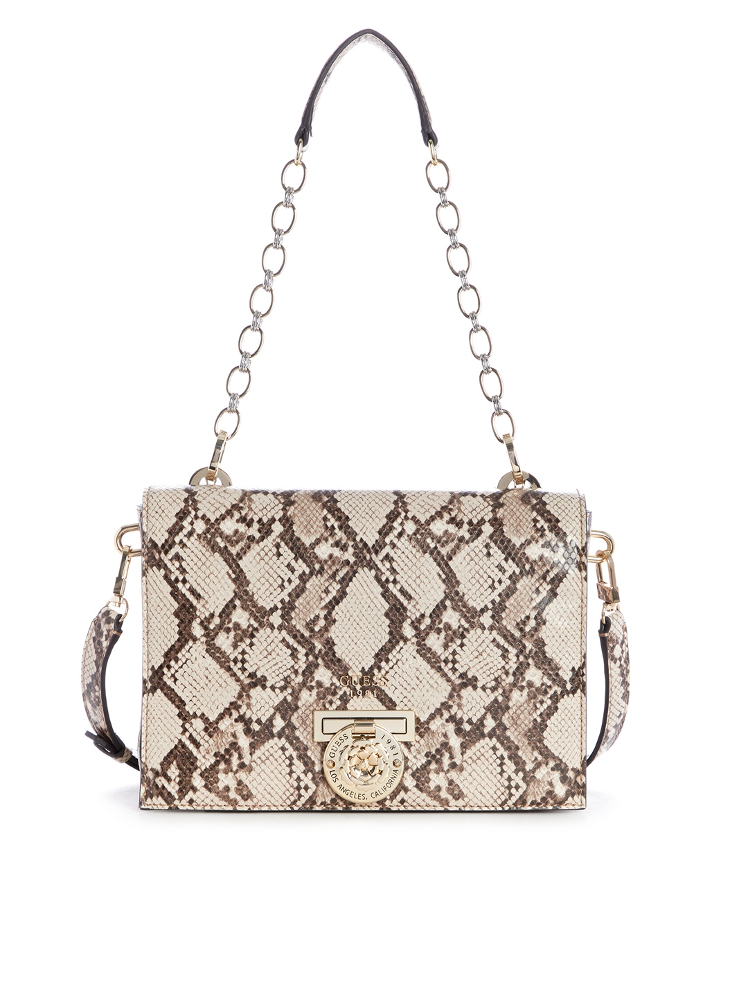 Buy GUESS Beige   Brown Snakeskin Print Shoulder Bag With Sling ... 7bef03fd32a