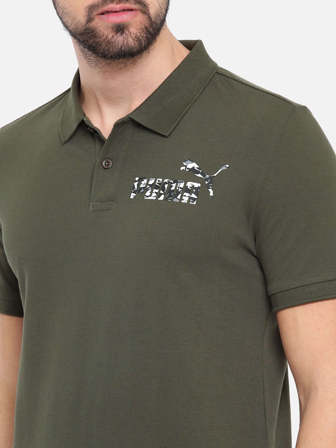 8c770b87 Buy Puma Men Olive Green Graphic Pique Polo I Solid T Shirt ...