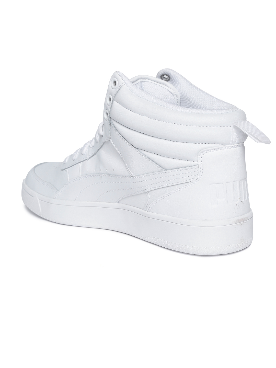 e4c8e2807b2 Buy Puma Men White Solid Rebound Street V2 Leather Mid Top Sneakers ...
