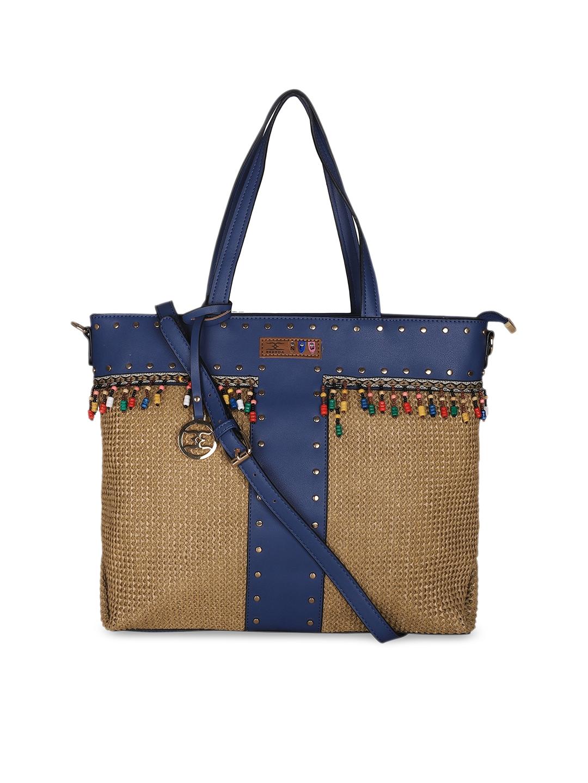 ESBEDA Blue   Brown Self Design Handheld Bag