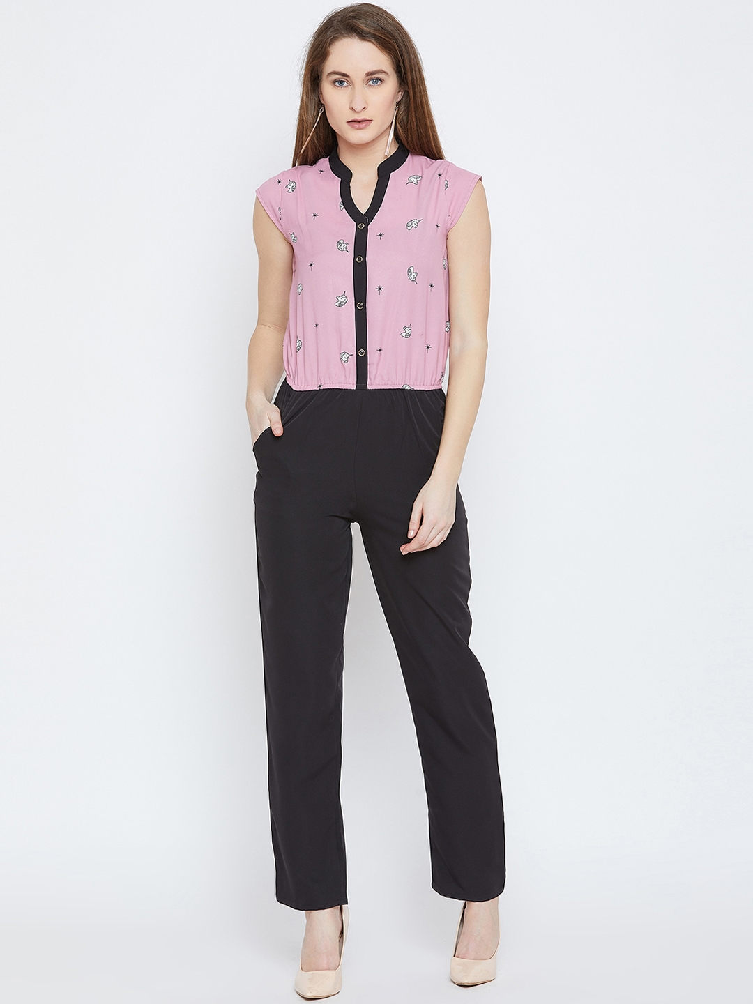 Ruhaans Women Pink & Black Printed Basic Jumpsuit