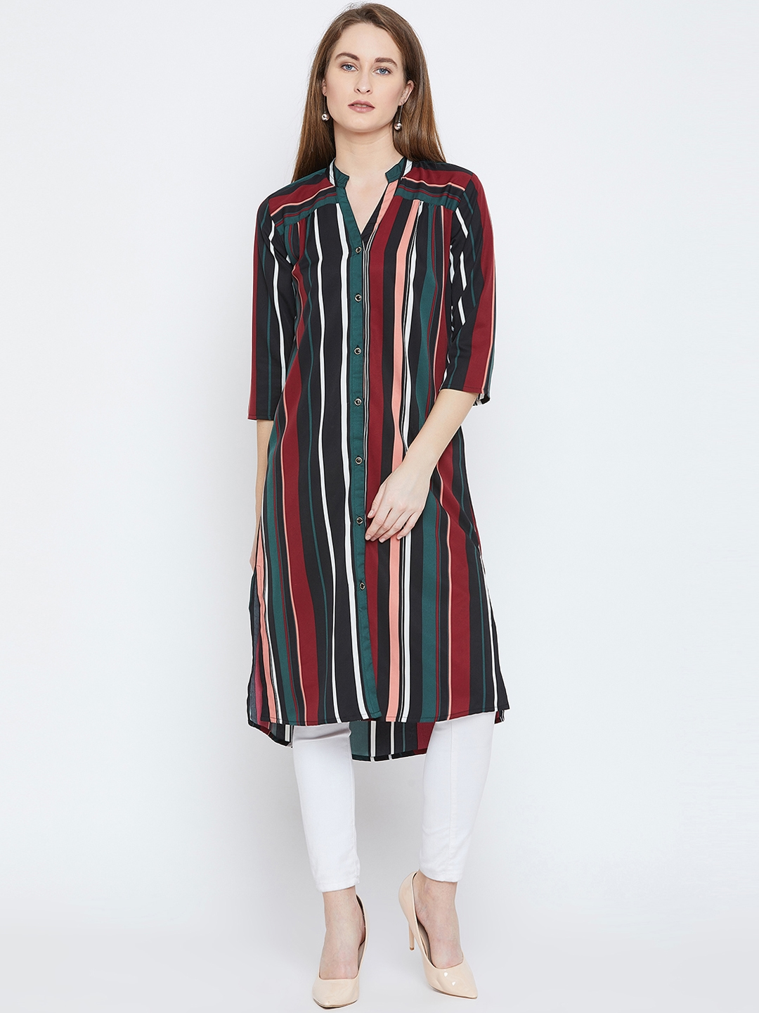 Ruhaans Women Multicoloured Striped Hight Low Tunic