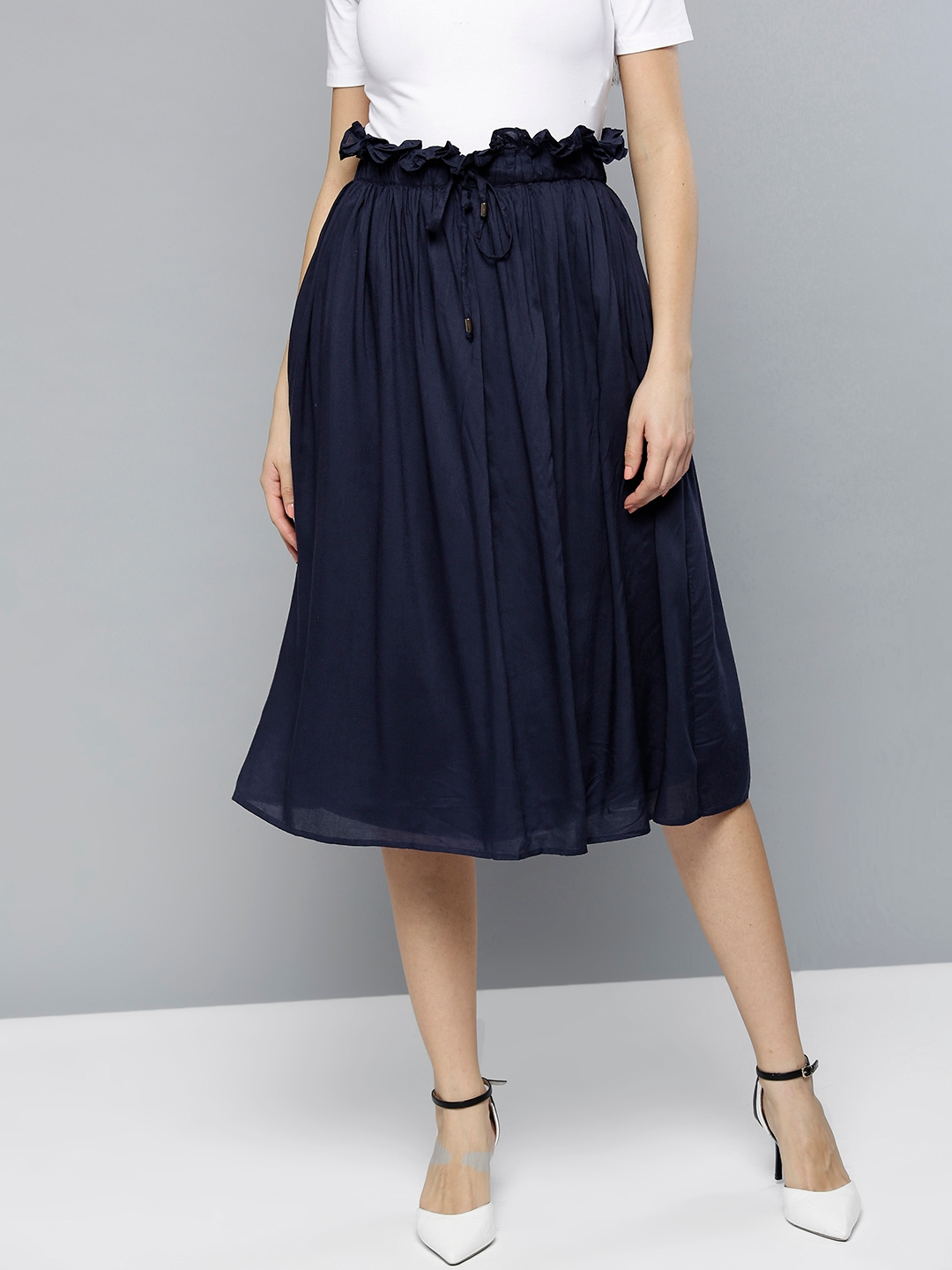 70e0494870 Buy RARE Women Navy Blue Midi A Line Skirt - Skirts for Women ...