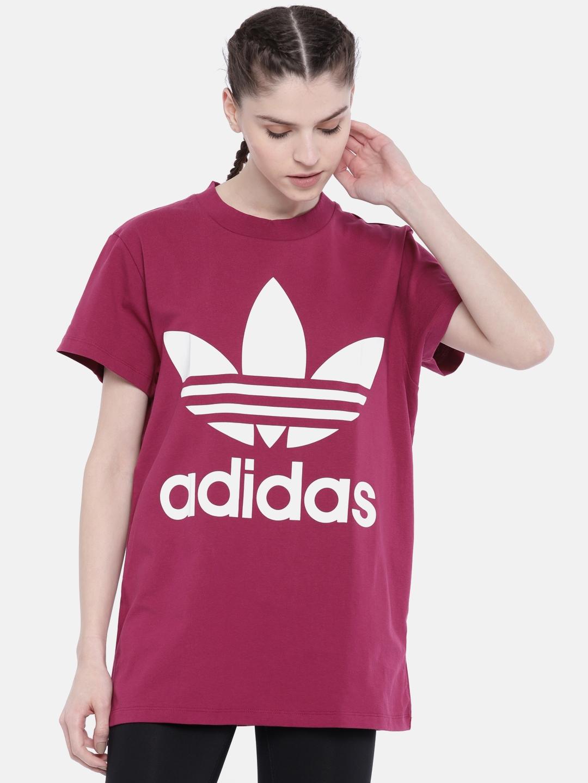 95f95fb9d73 Buy ADIDAS Originals Burgundy Printed BIG TREFOIL Longline T Shirt ...